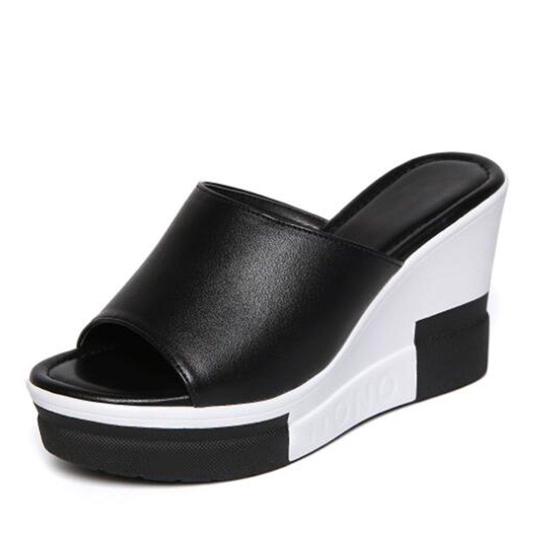 ZHONGST Damen Sommer Sandalen Wedges Sandalen  Hausschuhe Fashion Platform Sandalen  37 EU|Black