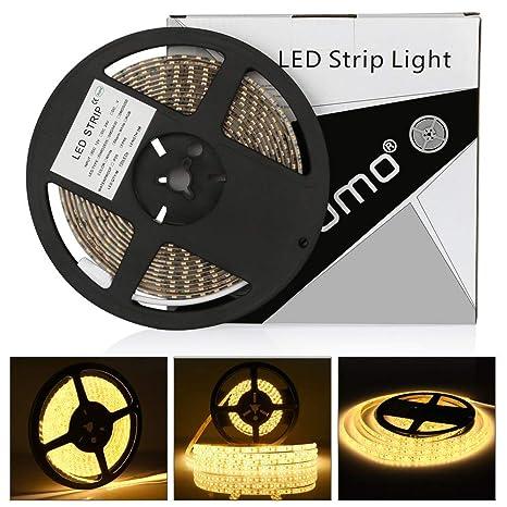 Tira led 12V 5m LEDMO,luces led 3000K SMD2835 tira led blanco cálido 600leds tiras