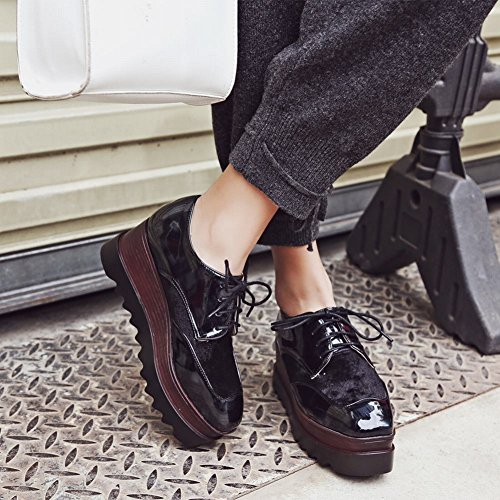 Latasa Dames Lace-up Platform Wedges Oxford Schoenen Zwart