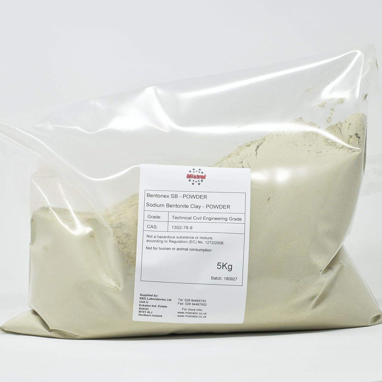 5 Mistral Bentonex SB Civil Engineering Grade Sodium Bentonite Clay 5Kg Powder Lake /& Pond Sealer Pottery /& ceramics