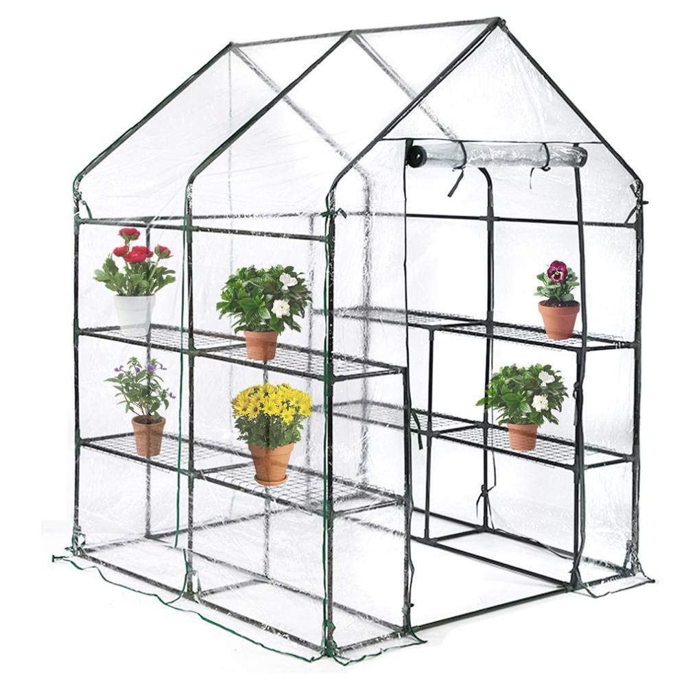 AVGDeals Portable Mini Greenhouse Outdoor Plant Shelves Walk-in Garden Winter Green House Warm Accessory to as a Decoration for Garden Amazing and Fairy Tale by AVGDeals