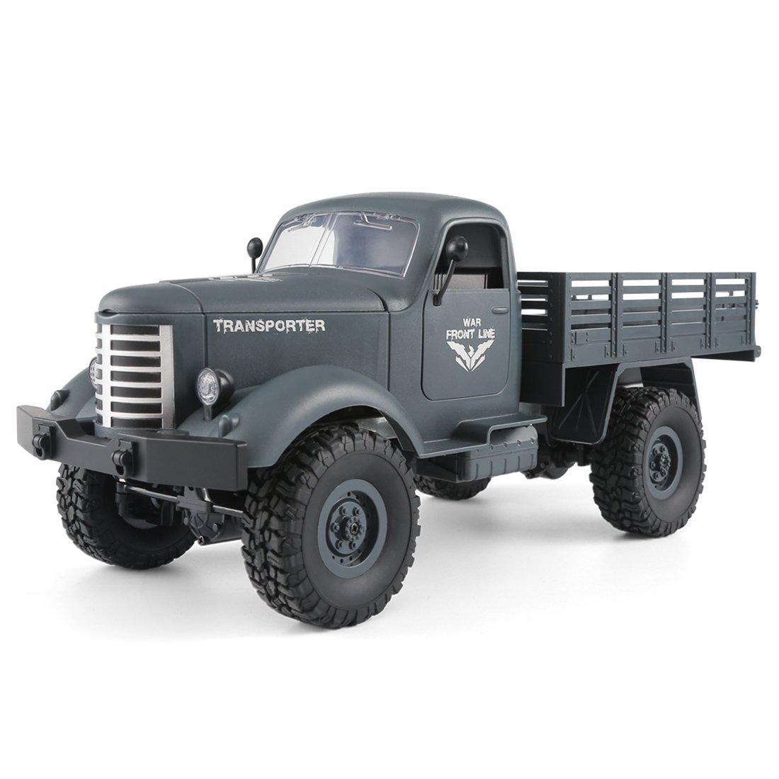 Mecotech RC Coche Teledirigido 1:16 2.4GHz 4WD Camión Militar RC Car Coches de Control Juguete Regalo para Niños (Azul)
