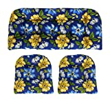 #5: RSH Décor Indoor/Outdoor Wicker cushions Two U-Shape and Loveseat 3 Piece Set Janice Royal Blue with Bold Blue and Yellow Flowers