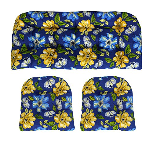 RSH Décor Indoor/Outdoor Wicker cushions Two U-Shape and Loveseat 3 Piece Set Janice Royal Blue with Bold Blue and Yellow Flowers (Patio Sets Loveseat Cushion)