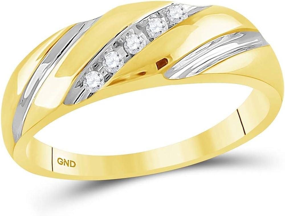 Sonia Jewels 14k Yellow Gold Mens Round Diamond Two-Tone Single Row Wedding Band Ring (1/10 Cttw)