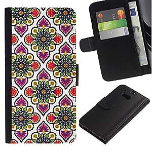 All Phone Most Case / Oferta Especial Cáscara Funda de cuero Monedero Cubierta de proteccion Caso / Wallet Case for HTC One M8 // Wallpaper Pink White Pattern