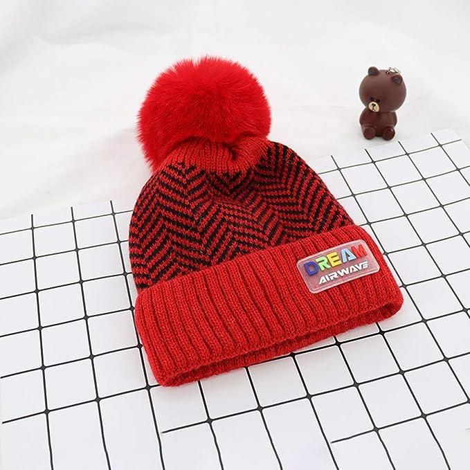 Toraway Kids 2Pcs Toddler Baby Girls Boys Winter Warm Knitted Letter Cap+Scarf Keep Warm Set Kids Winter hat Scarf