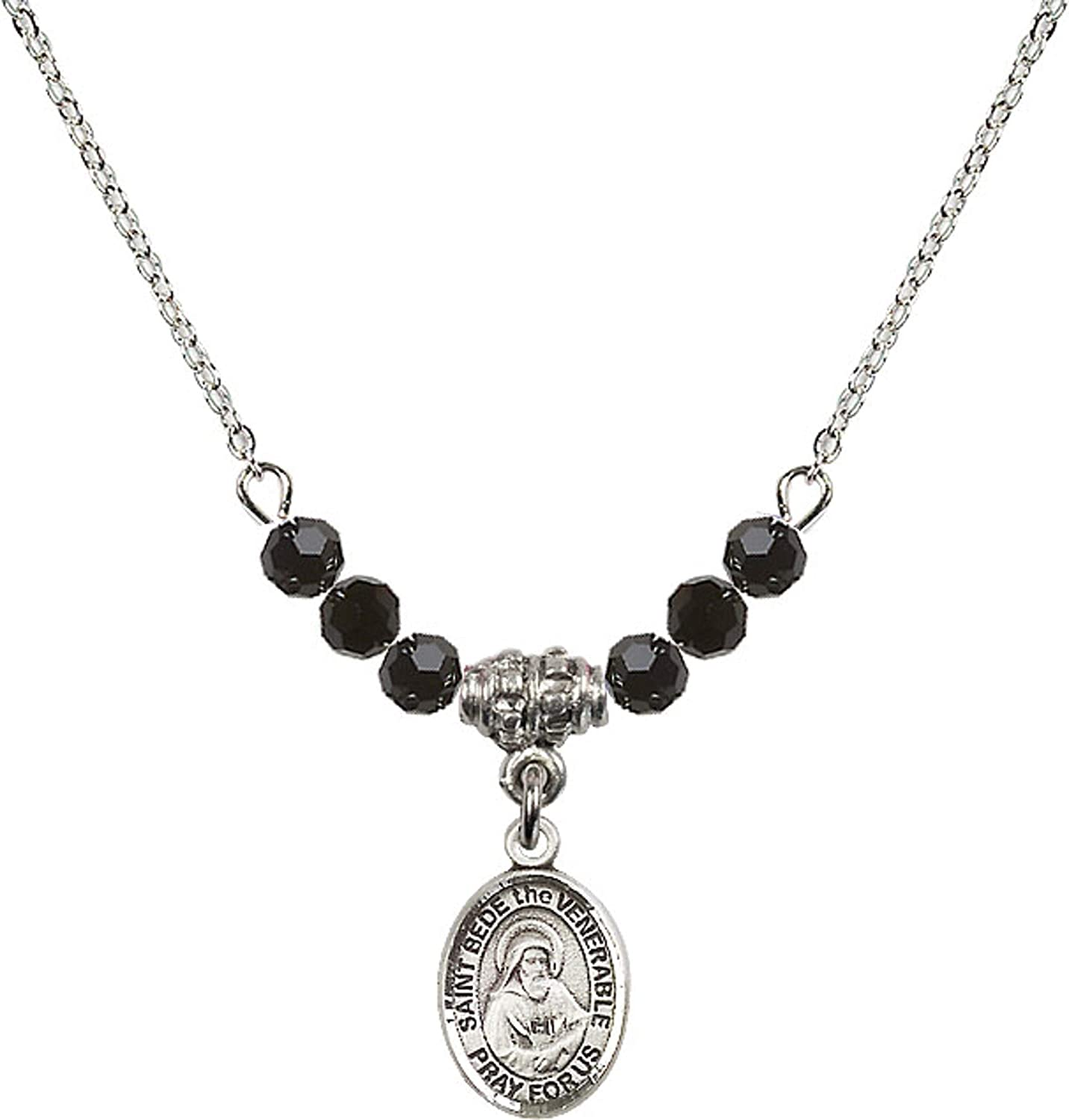 Bonyak Jewelry 18 Inch Rhodium Plated Necklace w// 4mm Jet Birth Month Stone Beads and Saint Bede The Venerable Charm