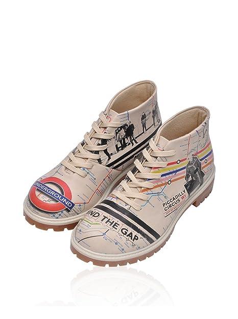 Dogo Botines de cordones London Underground Beige EU 36: Amazon.es: Zapatos y complementos