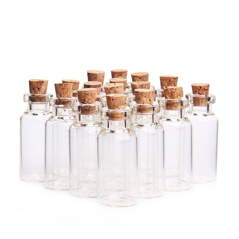 Vuoto trasparente 5 ml (1 –  1/5,1 cm 'x 3/10,2 cm) piccole bottiglie di vetro messaggio bottiglie che desiderano bottiglie di vetro vasetti flaconcini con tappo in sughero per la decorazione della casa Craft wedding par
