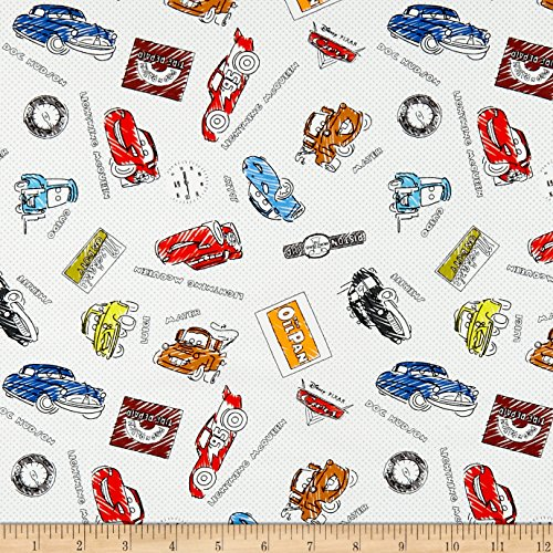 Disney Pixar Cars Fabric - Eugene Textiles Disney Pixar Mini Color-Me Sketchy Cars Multi Fabric by The Yard,