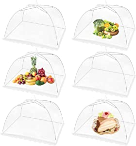 Mesh Food Cover 6 Pack 17x17 Pop-Up Mesh Food Covers Tent Umbrella for Outdoors, Screen Tents, Parties Picnics, BBQs, Camping, Reusable and Collapsible Food Cover Nets,White