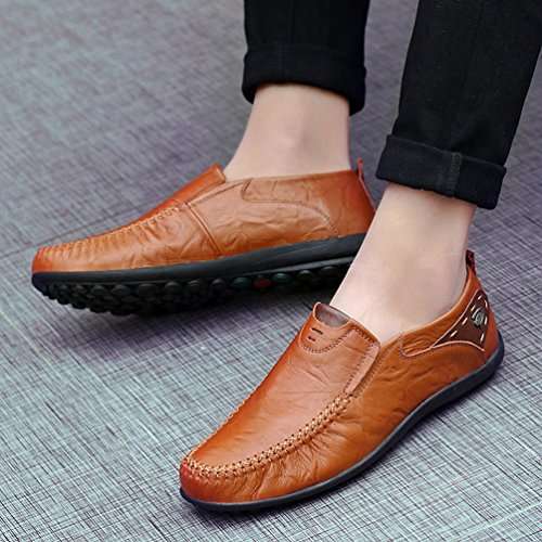 Scarpe PU Slip Pelle On Guida da Retro da Scarpe Loafers Barca Anguang Mocassini Marrone Uomo Oversize xaUEP