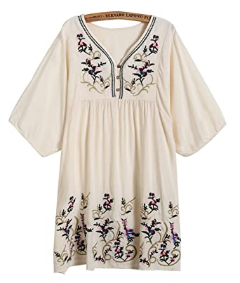 8aaa1bea015 Xinqiao Women s T-Shirt Tunic Dresses Mexican Embroidered Peasant Tops  Blouses (Beige)