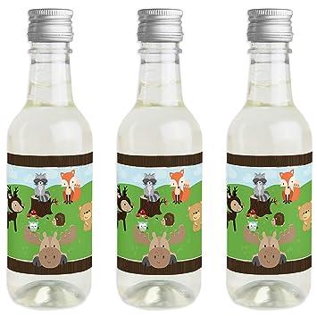 Woodland Creatures - Juego de 24 pegatinas para botella de vino y champán