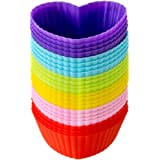 LAVAVIDA Reusable Cupcake Molds, 24 Pack Silicone Muffin Cups, Heart Shape Baking Liners