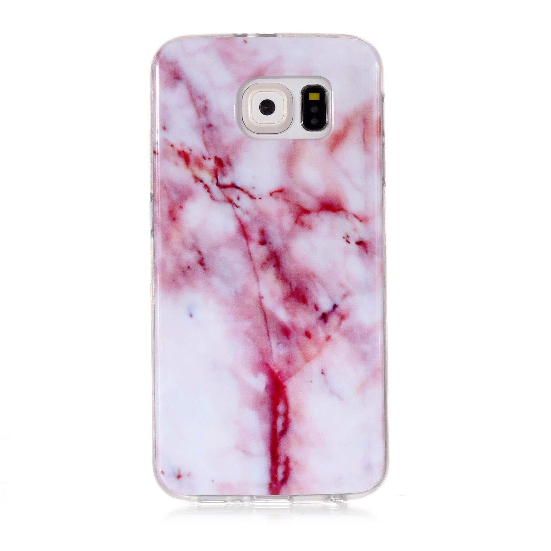 XINYIYI Coque pour Samsung Galaxy S6, Ultra Mince Creative Coloré Silicone Gel TPU Bling Couverture en Marbre Glitter Antichoc Doux Case Etui de Protection pour Galaxy S6