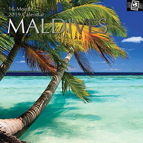 Maldives Sheet - 2019 Wall Calendar - Maldives Calendar, 12 x 12 Inch Monthly View, 16-Month, Travel and Destination Theme, Includes 180 Reminder Stickers