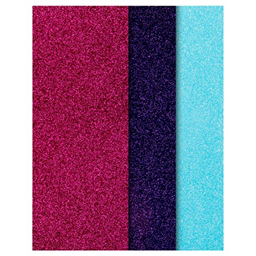 Glitter Vinyl Heat Transfer Bundle/Pink,Purple,Aqua 3 Color Pack HTV/Cricut,Silhouette Cameo, Iron On Or Heat Press Machine/Make Amazing T Shirts USA Packed-10 1/12 X 9 5/8