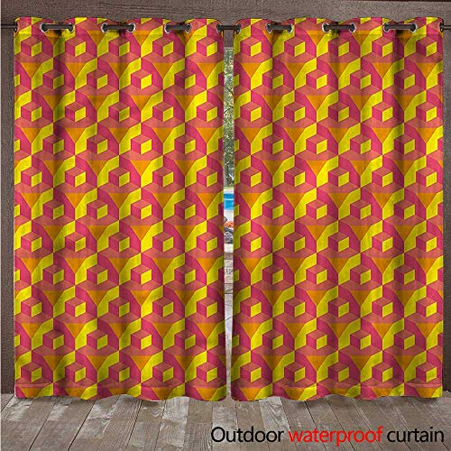 cobeDecor Abstract Outdoor Ultraviolet Protective Curtains Cube Prisms Hipster W108 x L84(274cm x 214cm) ()