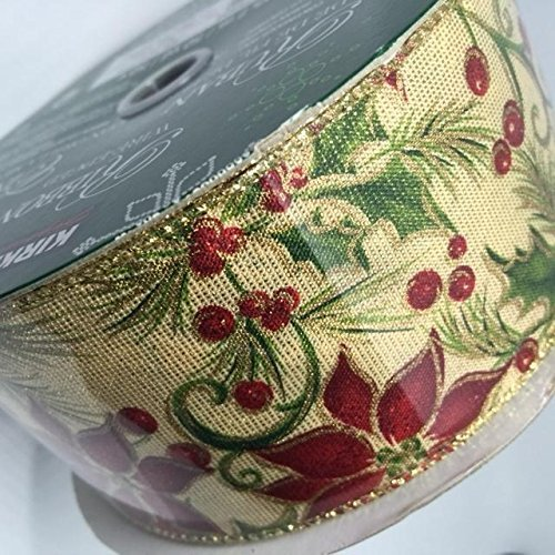 Wire Edged Ribbon Poinsettia Christmas Flower and Holly 50 yards 2.5 inches Perfect Bow for Holiday Christmas Party Gifts Floral Arrangements Tree Decor (Wrap Holiday Decor Holly)