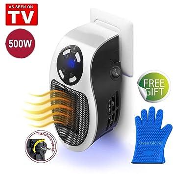 Nifogo Mini Heater Estufa Eléctrica - Calentador Portátil de Bajo Consumo, 500W con Termostato Ajustable Tiempo Programable de 12 Horas para Hogar Oficina ...