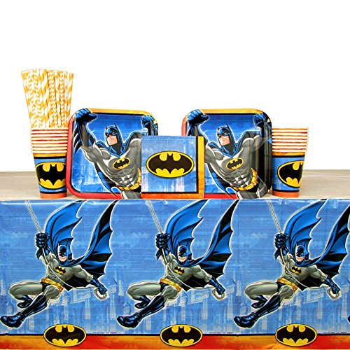 Cedar Crate Market Batman Party Supplies Pack for 16 Guests: Straws, Plates, Napkins, Cups, and Table Cover (Bundle for -