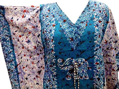RiSi Women's Elephant Print Kaftan, V-Neck Kimono Long Caftan Dress One Size / Free Size Turquoise Blue (Kaftan Elephant)