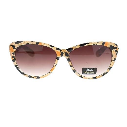 9d63bd2c22 Giselle Color Leopard Animal Print Mod Retro Chic Cat Eye Sunglasses Beige