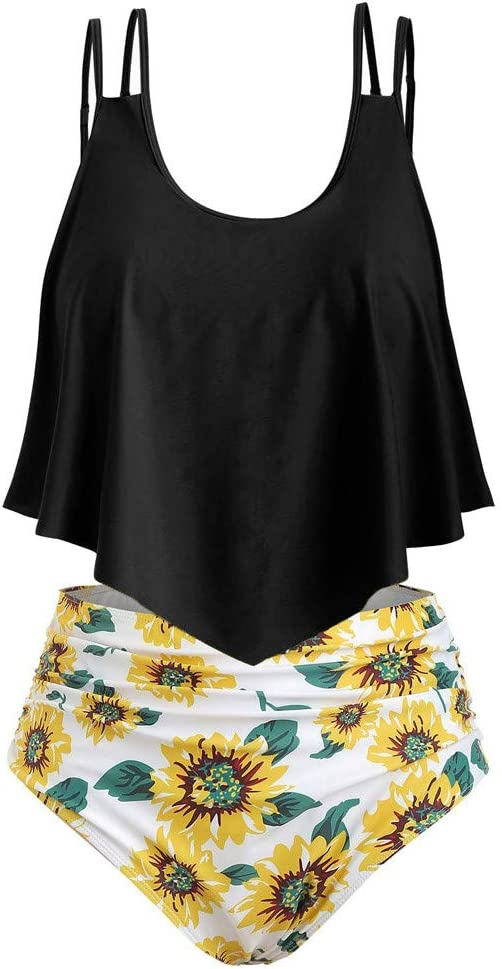 Aibiner Swimming Costume for Women Sunflower Printed Flounce Two Piece Swimsuits High Waisted Beach Bathing Suit
