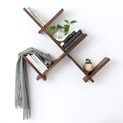Fine Inman Home Solid Walnut Wood Reversed Criss Cross Intersecting Wall Mounted Shelves Storage Cd Rack Bookshelf Picture Shelf Ledge Rustic Timber Wall Download Free Architecture Designs Scobabritishbridgeorg