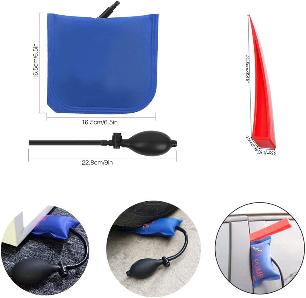 JMgist PDR Paintless Dent Removal Tools Kits PDR Fish Tail Style Rods with Air Wedge for Door Dings Hail Repair and Dent Removal Repair