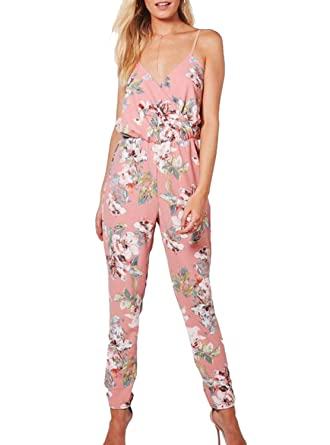 5f679b5167f Image Unavailable. Image not available for. Color  ANERT Women Summer Floral  Printed Halter Jumpsuit ...