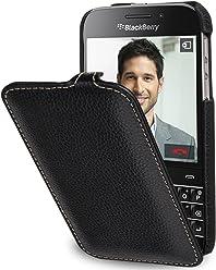 StilGut UltraSlim, Housse en Cuir avec Fonction Marche/arrêt pour Blackberry Classic Q20, en Noir