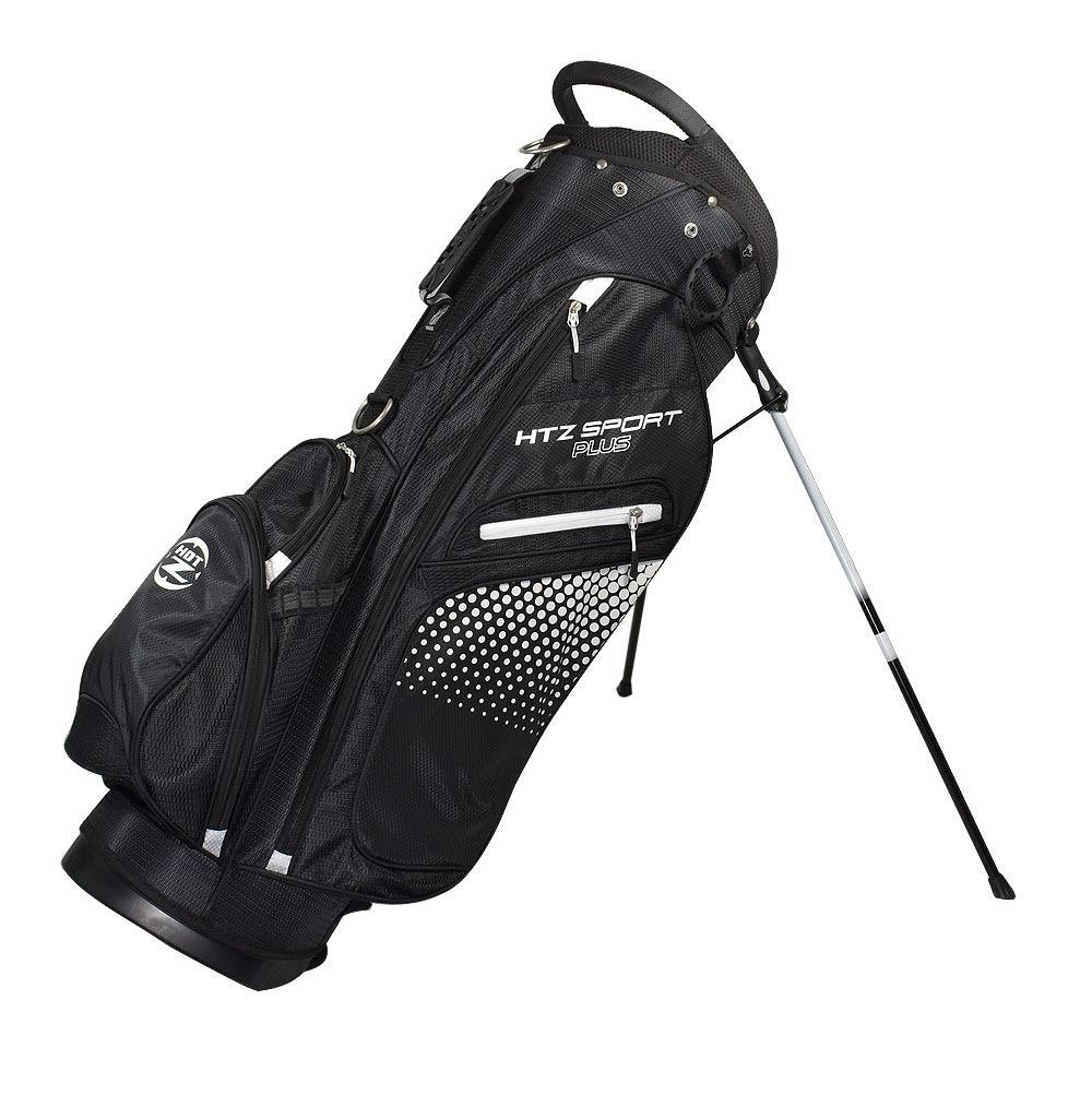 hot-zゴルフHTZスポーツプラススタンドバッグ B0741WQ58D ブラック/ホワイト