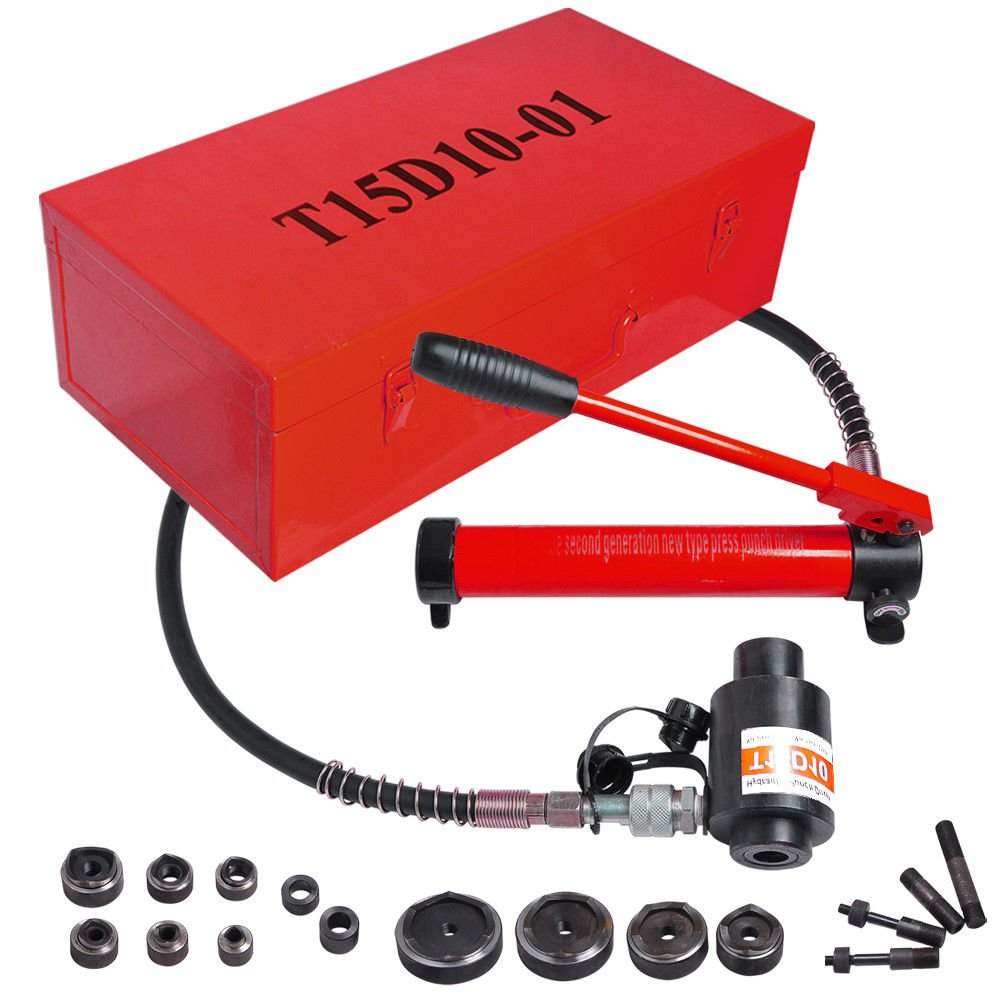 15 Ton Red Hydraulic Knockout Punch Driver Kit Hand Pump Hole Case Tool 11 Gauge #YCNH