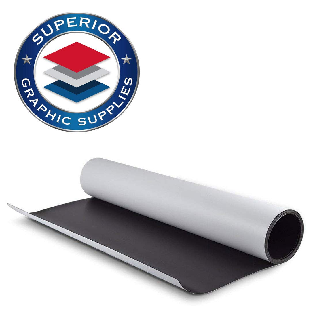 Superior Graphic Supplies Magnetic White Material - Flexible Magnetic Sheet Roll (24 Inches X 60 Inches) | 30 Mil - Matte White - 1 Roll by Superior Graphic Supplies (Image #2)