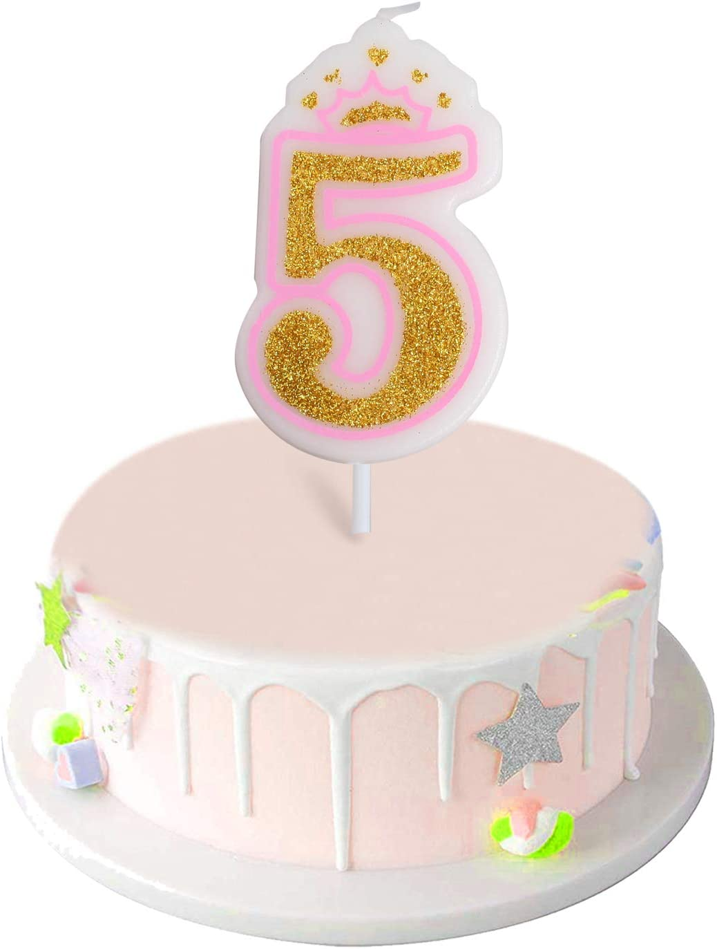 ANYI16 Number 5 Giltter Candle,Number 0-9 Birthday Candle for Girl Boy Birthday Cake Topper Decoration(Pink Number 5)