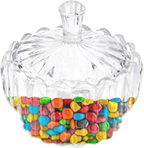 Candy Dish with Lid,Candy Jar Crystal Glass Covered Decorative Weddings Candy Buffet Food Storage Container with Lid for Kitchen Birthday Party (3.3''3.8''4.4'') ¡