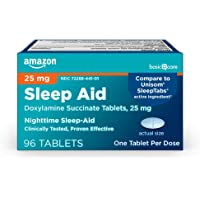 Amazon Basic Care Sleep Aid Tablets, Doxylamine Succinate Tablets, 25 mg, Nighttime Sleep Aid to Help You Fall Asleep, 96 Count