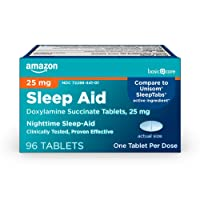 Amazon Basic Care Sleep Aid Tablets, Doxylamine Succinate Tablets, 25 mg, Nighttime...