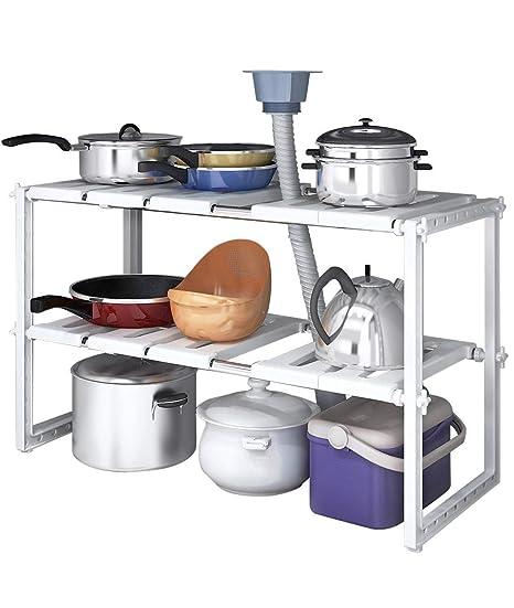 Organizador de almacenamiento para bajo del fregadero, de LIVIVO®, ajustable, extensible, multiusos, para cocina, baño, estante de almacenamiento