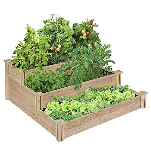 Lovely Greenes 4 Ft. X 4 Ft. X 21 In. Tiered Cedar Raised Garden Bed