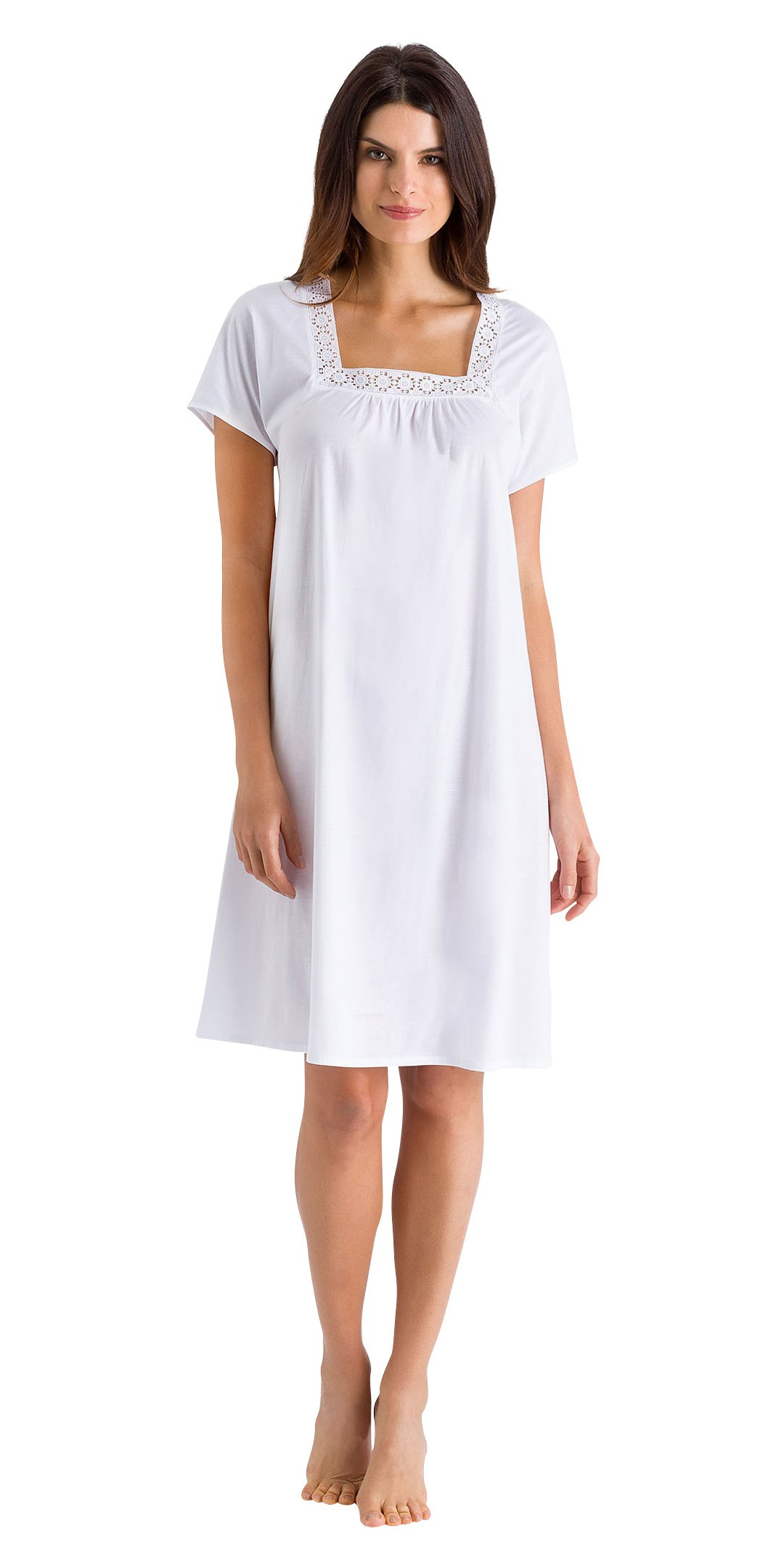 Hanro Women's Hazel Short Sleeve Gown, White, Large by HANRO (Image #1)