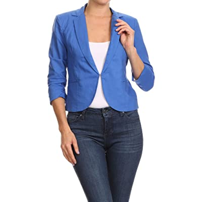 2ND DATE Women's Lightweight Summer Linen Cropped Office Blazer