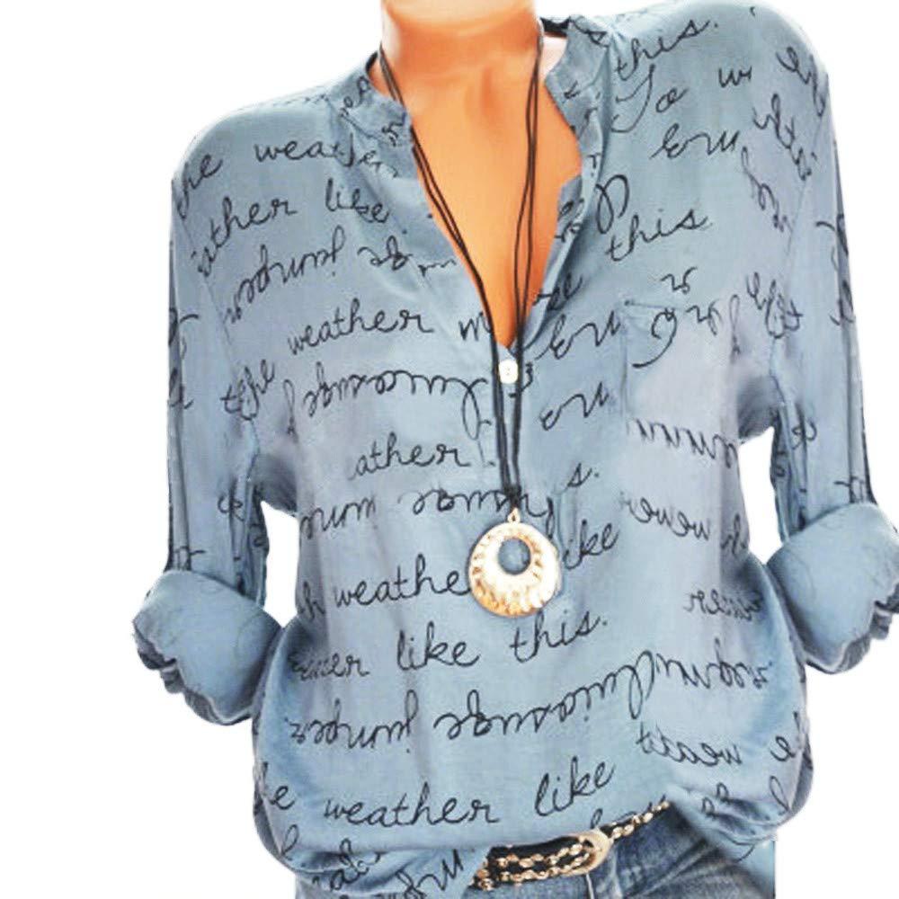 KEERADS Femmes Plus La Taille V-Cou Bouton Lâche Casual Manches Longues Lettre Blouse Pull Tops T-Shirt