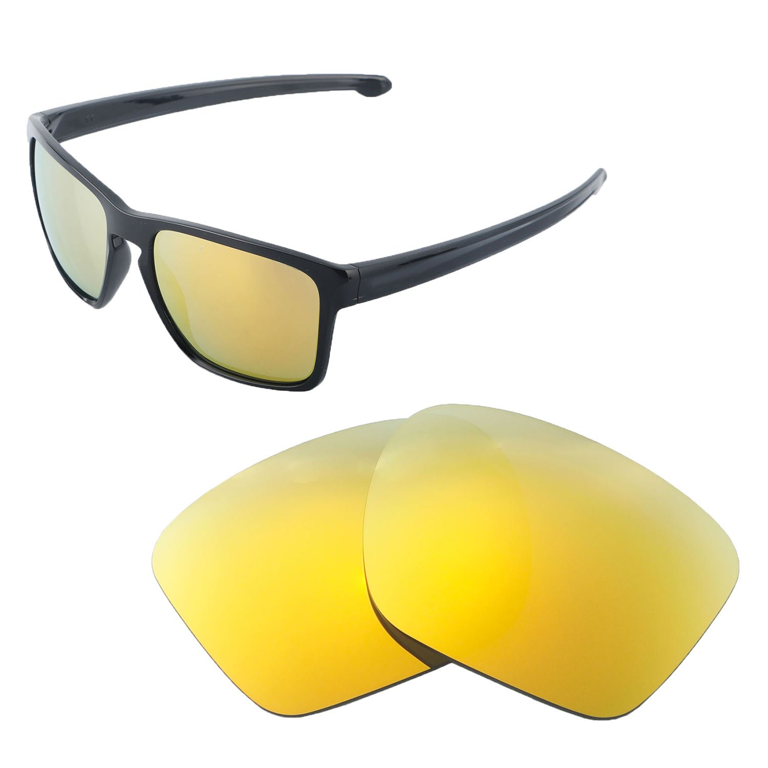 c3f3dc773b9 Amazon.com  Walleva Replacement Lenses for Oakley Sliver XL Sunglasses -  Multiple Options Available (24K Gold - Polarized)  Clothing