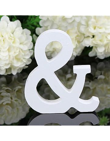 EXIU Letras de madera blancas Letras del alfabeto Palabra de pie libre Decoración del jardín de