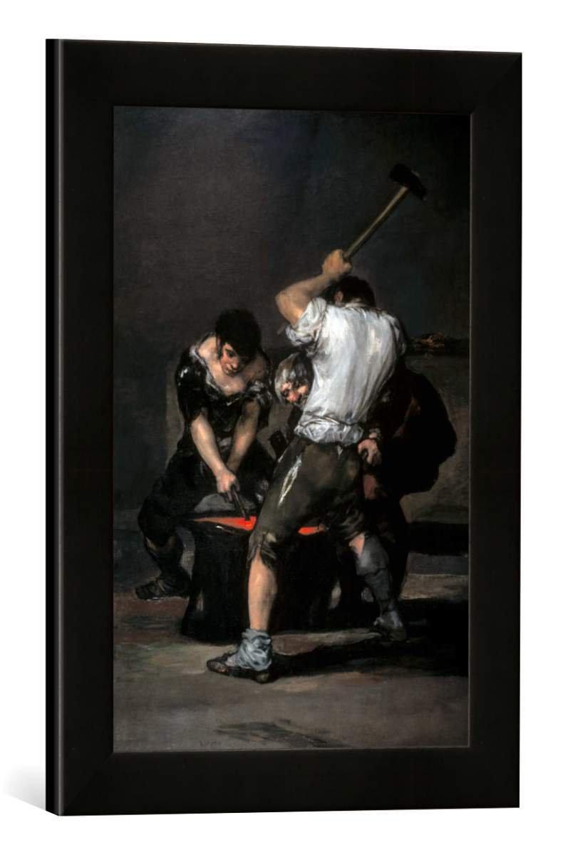 Gerahmtes Bild von Francisco Jose de Goya y Lucientes La Fragua, Kunstdruck im hochwertigen handgefertigten Bilder-Rahmen, 30x40 cm, Schwarz matt