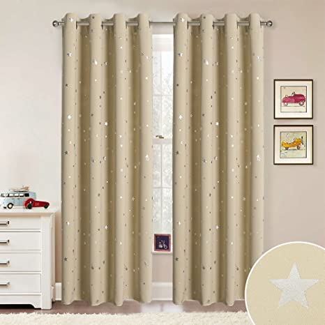 RYB HOME Star Curtains Grommet - Kids Curtains Room Darkening Silver Star  Pattern Privacy Wall Panels for Bedroom Baby Playroom New Year Gift, ...